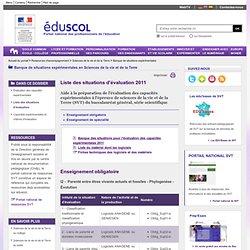 Banque de situations expérimentales - Liste des situations d'évaluation - ÉduSCOL