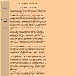 Six Steps to Meditation