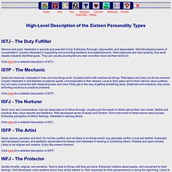 The Sixteen Personality Types - High-Level