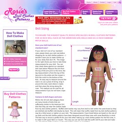 Doll Clothes Patterns Doll Sizing