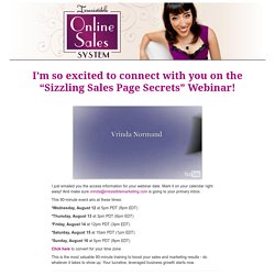 Sizzling Sales Page Secrets Webinar Confirmation