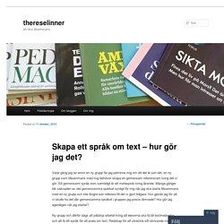 Skapa ett språk om text – hur gör jag det?