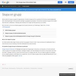 Skapa en grupp - Google Apps Administrator Hjälp