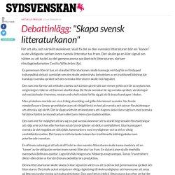 """""""Skapa svensk litteraturkanon"""""""