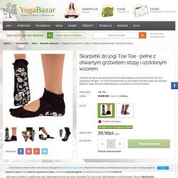 Skarpetki do jogi Toe Toe - pełne z otwartym grzbietem stopy i ozdobnym wzorem Czarny - sklep Yoga Bazar