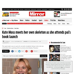 Kate Moss meets her own skeleton as she attends pal's book launch