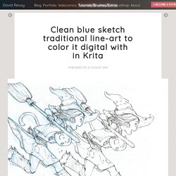 Clean blue sketch traditional line-art to color it digital with in Krita - David Revoy