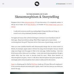 Skeuomorphism & Storytelling