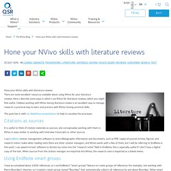 Hone your NVivo skills with literature reviews