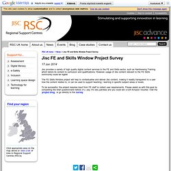 Jisc FE and Skills Window Project Survey