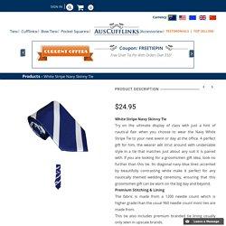 White Stripe Navy Skinny Tie
