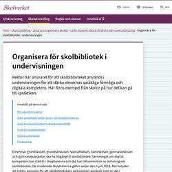 Organisera för skolbibliotek i undervisningen