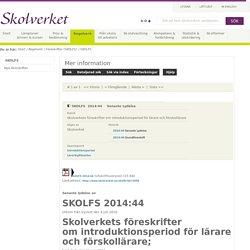 SKOLFS 2014:44 - Senaste Lydelse
