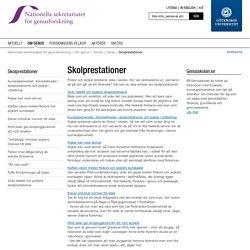 Skolprestationer - Nationella sekretariatet för genusforskning, Göteborgs universitet