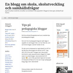 Tips på pedagogiska bloggar