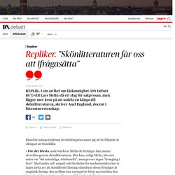 """""""Skönlitteraturen får oss att ifrågasätta"""""""