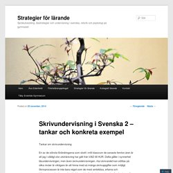 Skrivundervisning i Svenska 2 – tankar och konkreta exempel