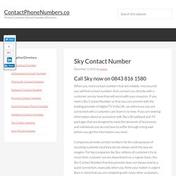Sky Contact Number - 0843 816 1580