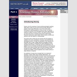 Horary Astrology Course by Deborah Houlding - Part One, Introduction