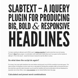 slabText – a jQuery plugin for creating big, bold & responsive headlines