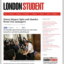 Harry Stopes: Spin and slander from UoL managers