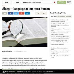 Slang — language at its most human