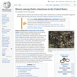 Slavery among Native Americans in the United States - Wikipedia