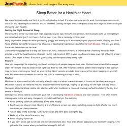 Sleep Better for a Healthier Heart