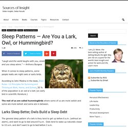 Are You a Lark, Owl, or Hummingbird?