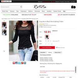 Long Sleeve Black Mesh Splicing T Shirt - USD $13.60
