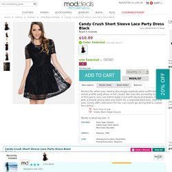 Black Candy Crush Short Sleeve Lace Party Dress