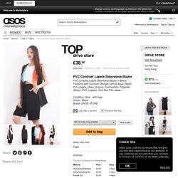 PVC Contrast Lapels Sleeveless Blazer
