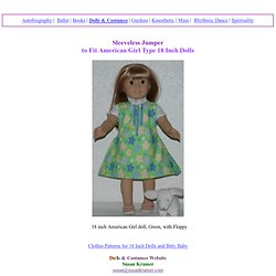 Sleeveless Jumper Pattern for American Girl, AG Type 18 Inch Dolls