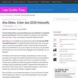 Aha Slides. Créer des QCM interactifs - Les Outils Tice