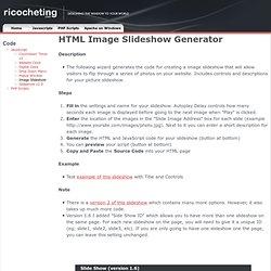 Image Slideshow HTML Generator