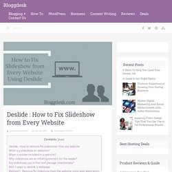 How to Fix Slideshow from Any Website Using Deslide