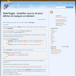 SlideToggle : simplifiez vous la vie pour afficher et masquer un élément - BlogYann BlogYann