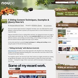 5 Sliding Content Techniques, Examples & jQuery How to's - Noupe Design Blog
