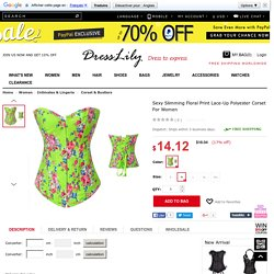 Sexy Slimming Floral Print Lace-Up Polyester Corset For Women, GREEN, M in Corset & Bustiers
