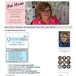 Pat Sloan Radio Show Guest List - Pat Sloan's Creative Talk Network
