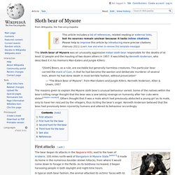 Sloth bear of Mysore - Wikipedia