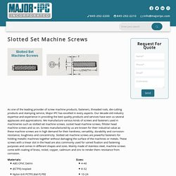 Slotted Set Machine Screws - Major Ipc - High Quality and Performance
