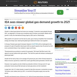 IEA sees slower global gas demand growth to 2021
