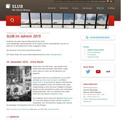SLUB Dresden: SLUB im Advent 2015