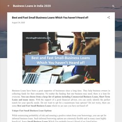 Best and Fast Small Business Loans Which You haven't Heard of!