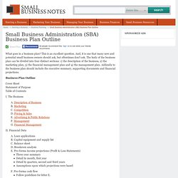 Small Business Administration (SBA) Business Plan Outline