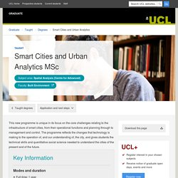 Smart Cities and Urban Analytics