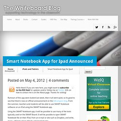 Smart Notebook App for Ipad Announced