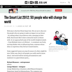 The Smart List 2012: 50 people who will change the world