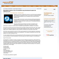 Nine Hertz is listed as Top 10 smartphone app development agency by Appfutura.com - openPR